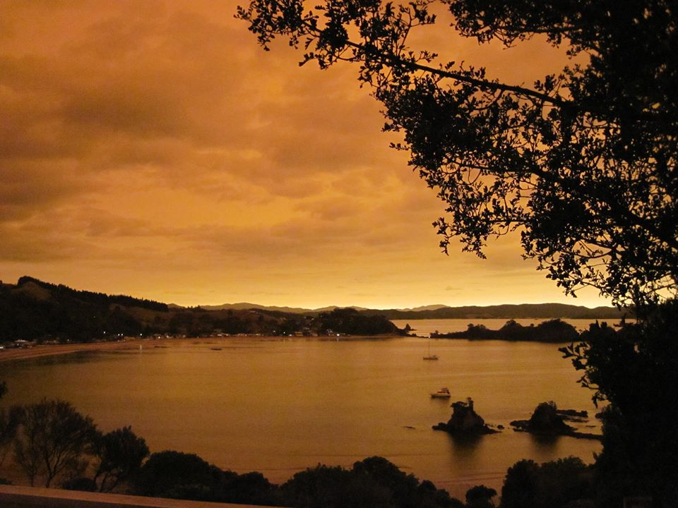 Oakura Bay, Northland orange sky